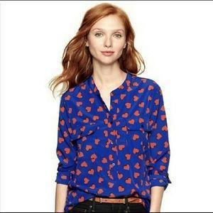 GAP 1/2 Popover Blouse w Hearts Mandarin Collar